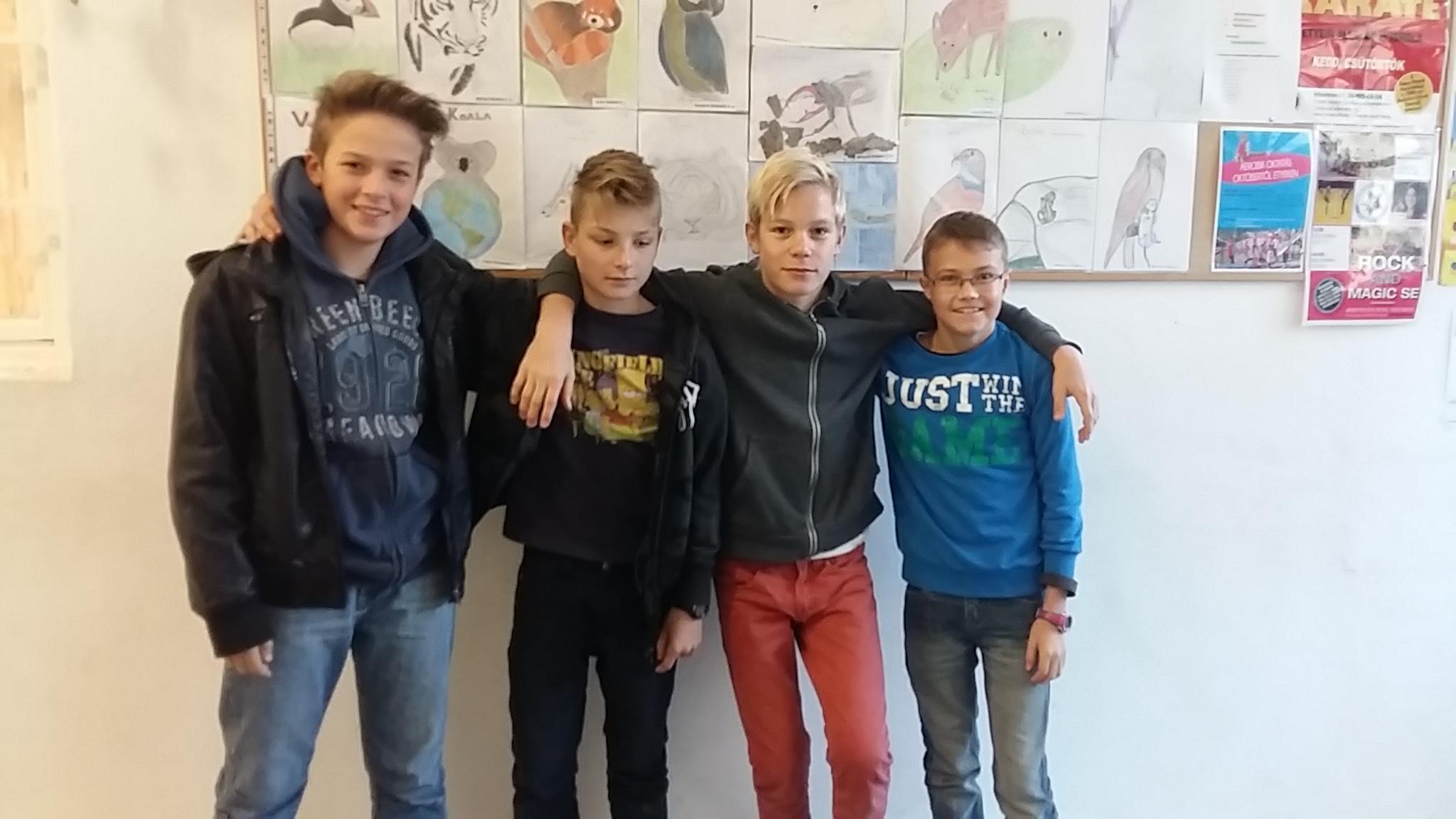 A legsikeresebb felsős csapat: Franta Ákos, Nyeste Dávid, Varga Dániel, Farkas Bence.